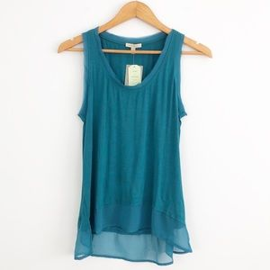 Anthropologie Bordeaux High Low Jersey Tank Top